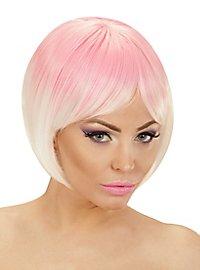 Two-Tone Damenperücke pink-weiß
