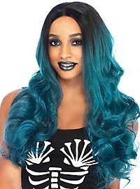 Two-tone long hair wig petrol-black
