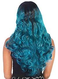 Two-tone long hair wig petrol-black