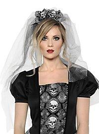 Veil with skulls grey