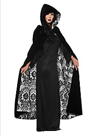 Velvet cape with hood black-gray