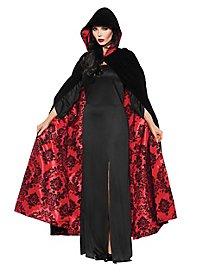 Velvet cape with hood black-red