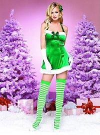 Velvet Santa Dress green Costume