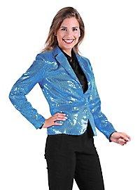 Veste à paillettes turquoise pour femme
