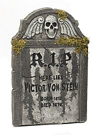 Victor Tombstone with Moss Halloween Decoration