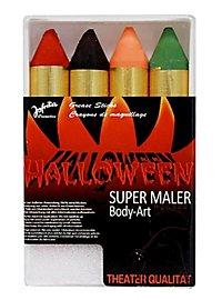 Vier Halloween Schminkstifte extra dick