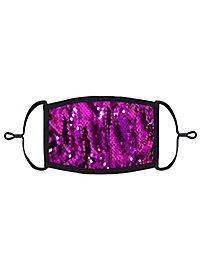 Violett-silber Wendepailletten Mund-Nasen-Maske