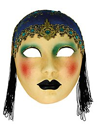 Volto Anni 30 capp blu - Venezianische Maske