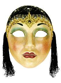 Volto Anni 30 capp nero - Venezianische Maske