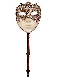 Volto macrame argento con bastone Venezianische Maske