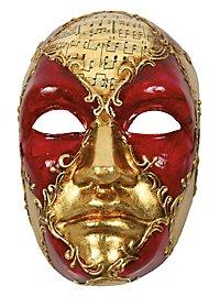 Volto Maschile schacchi rosso musica - Venetian Mask