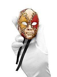 Volto mini scacchi bianco oro rosso Venezianische Miniaturmaske