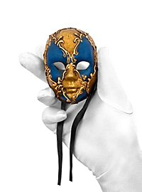 Volto mini scacchi oro blu Venezianische Miniaturmaske