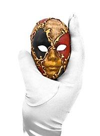 Volto mini scacchi oro nero rosso musica Venezianische Miniaturmaske