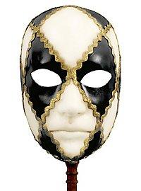 Volto scacchi bianco nero con bastone - Venezianische Maske