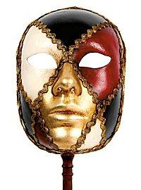 Volto scacchi colore con bastone - Venezianische Maske