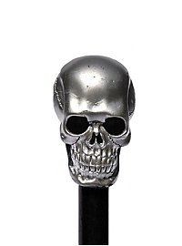 walking stick skull silver