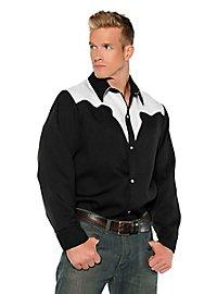 Westernhemd Cowboy schwarz-weiß