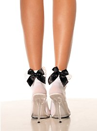 White Ankle Socks with black Bow