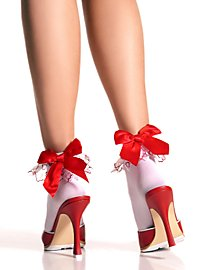 White Ankle Socks with red Bow