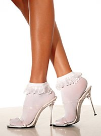 White Ankle Socks with Ruffle