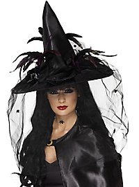 witch hat with black feathers