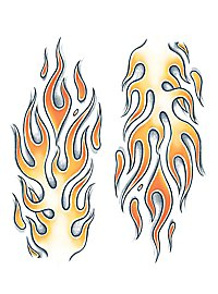 XL Flames Temporary Tattoo