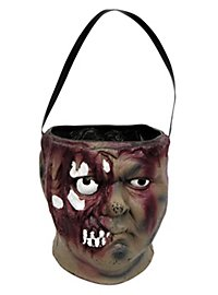 Zombie Head Treat Bucket Halloween Decoration