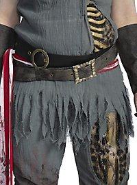 Zombie Piratin Kostüm mit Perücke